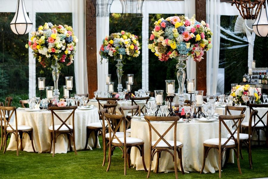 Large vibrant floral centerpieces