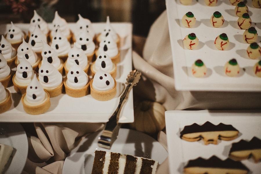 Ghost, eyeball, and bat decorated desserts