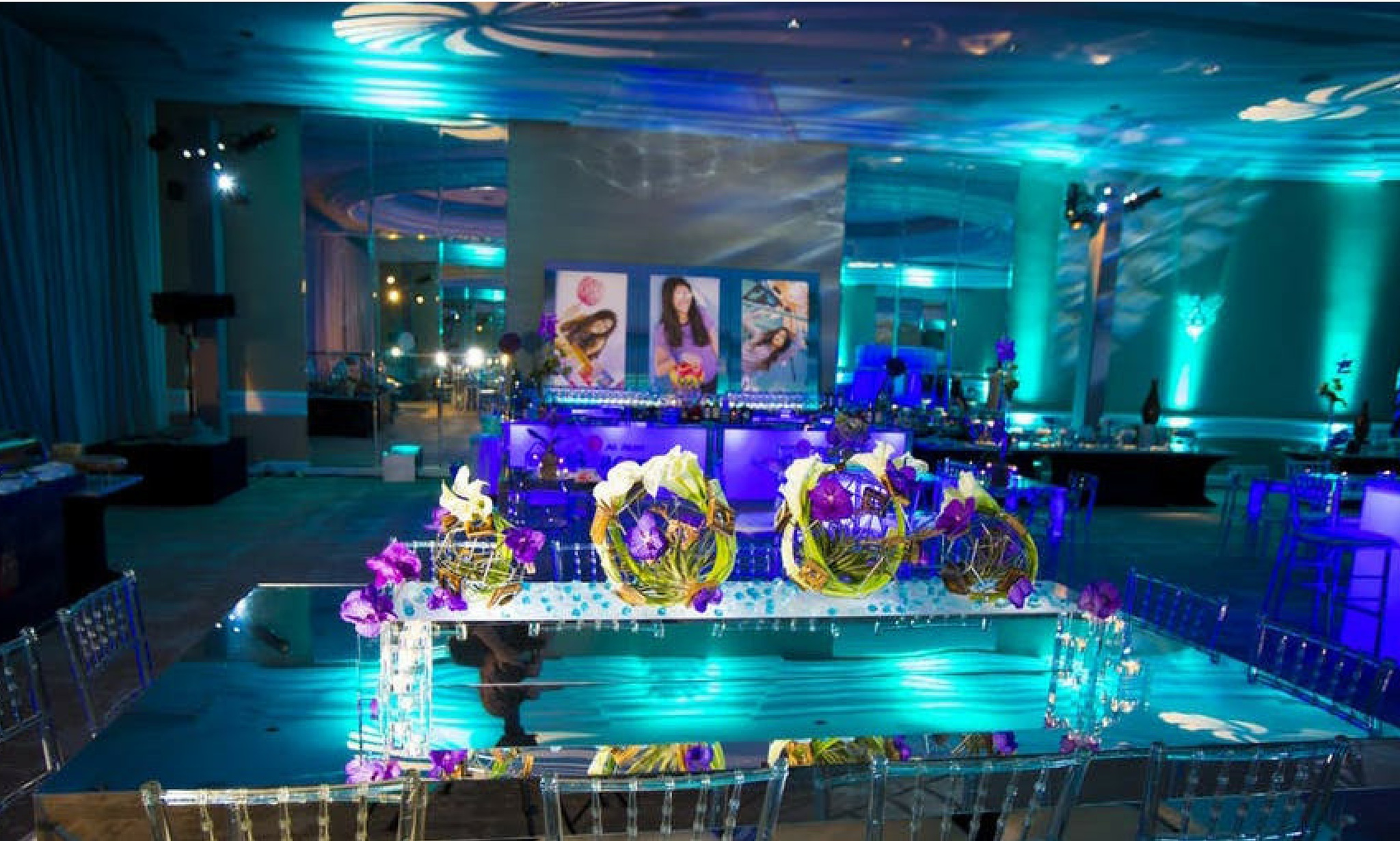 aqua and blue lighting to create underwater theme Bat Mitzvah