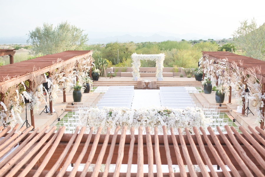Outdoor wedding venue surrounded by nature
