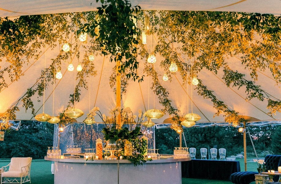 Strung greenery lines in tent