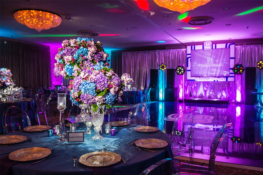 Pink purple and blue floral centerpieces
