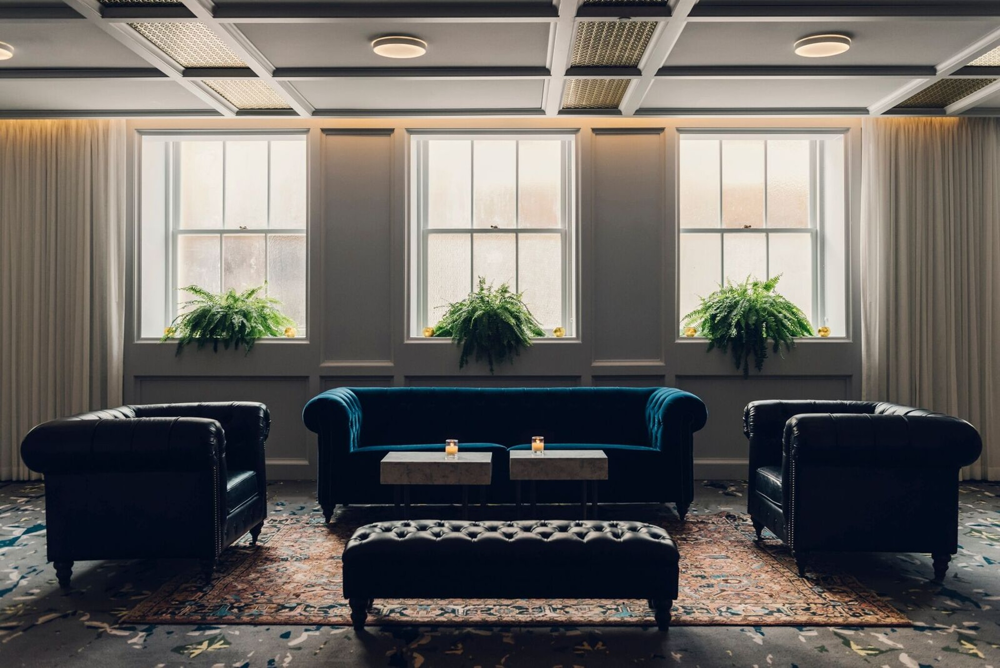 modern chic navy velvet seating area at the line hotel in washington d.c.