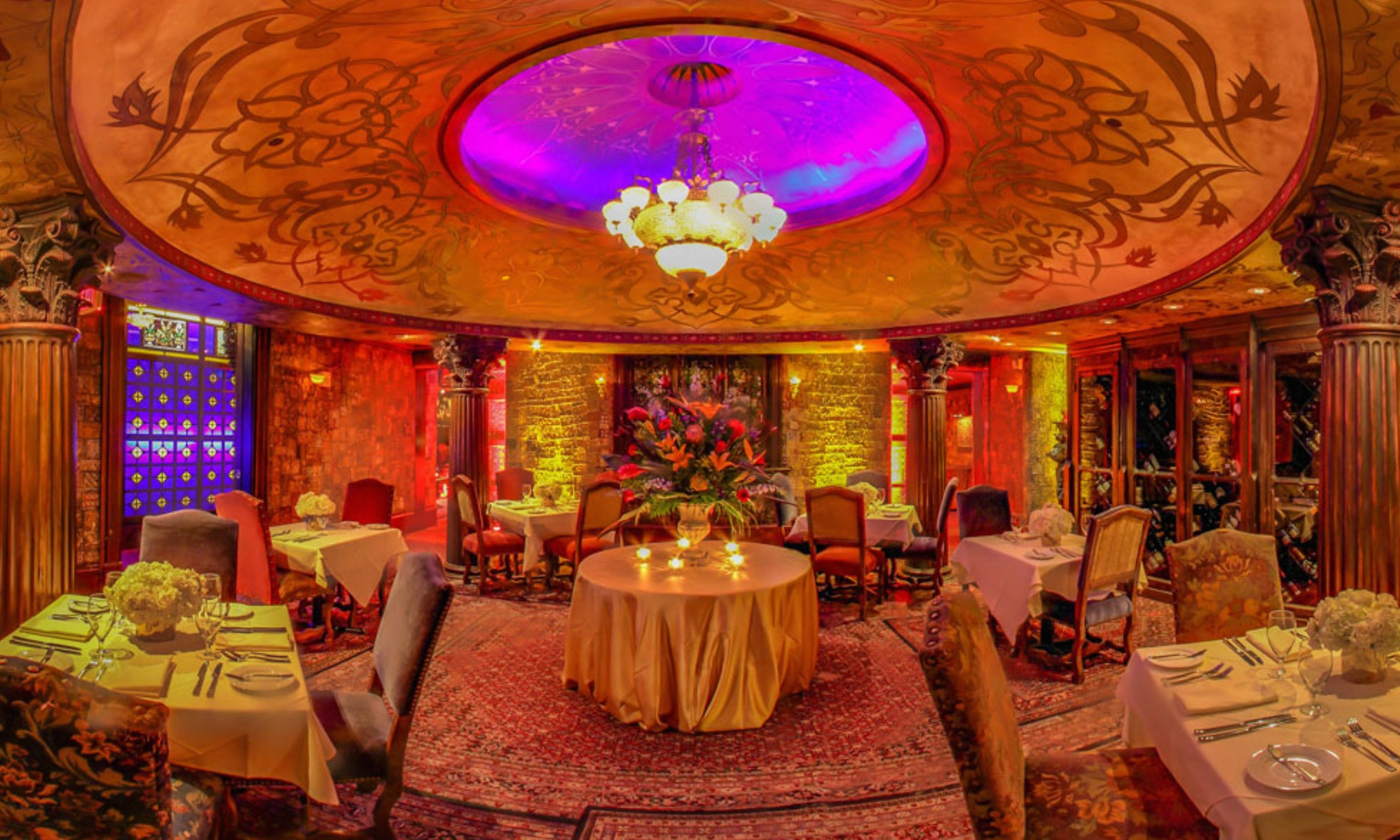 Persian themed room with vibrant lighting at the House of Blues Houston