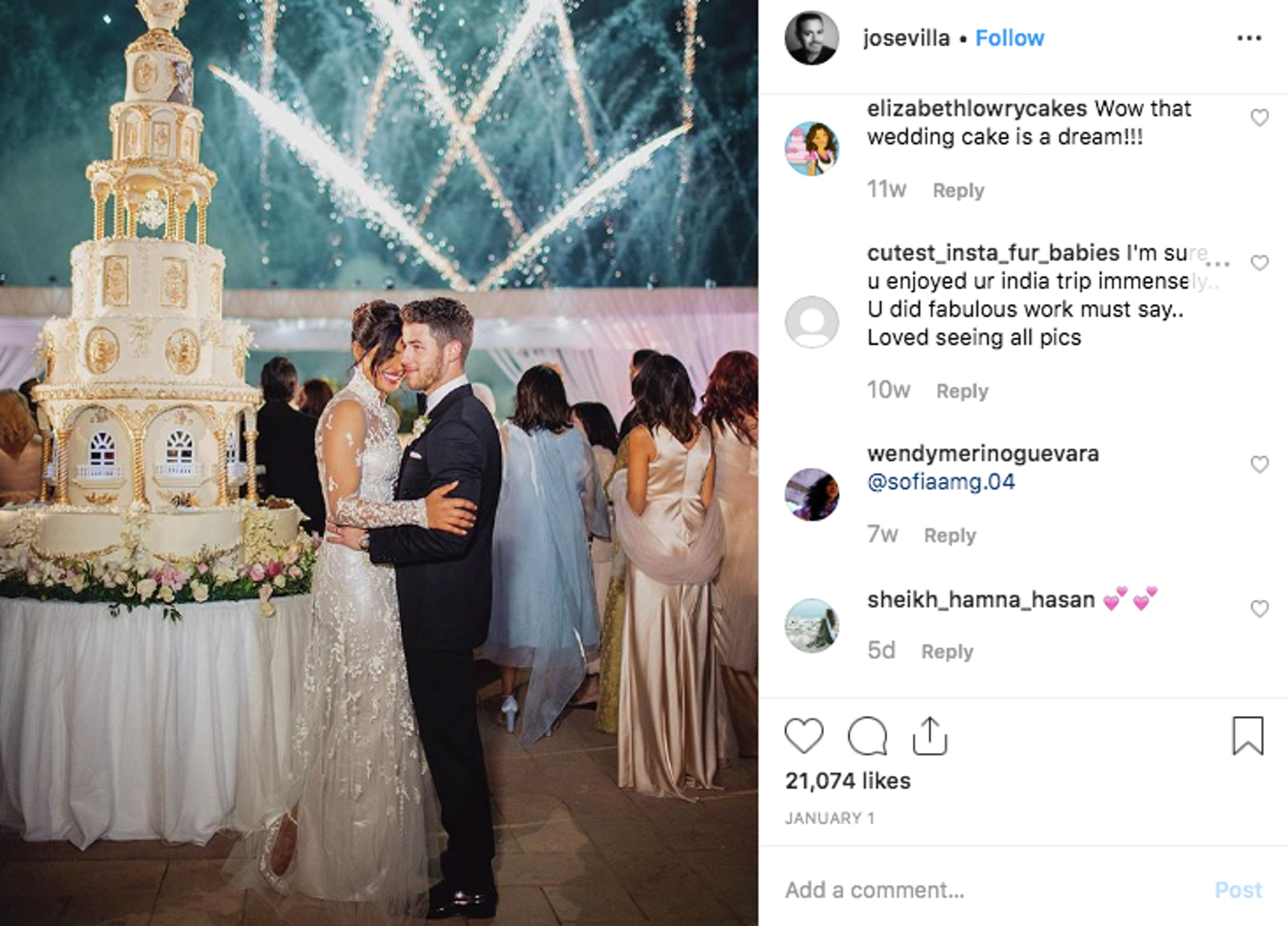 Nick Jonas and Priyanka Chopra wedding with extravagant gold and white cake