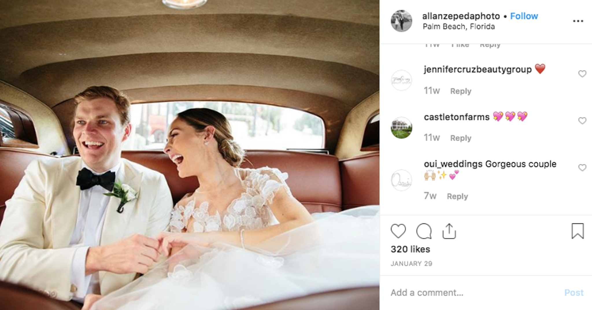 Bride and groom sharing moments in the car from wedding