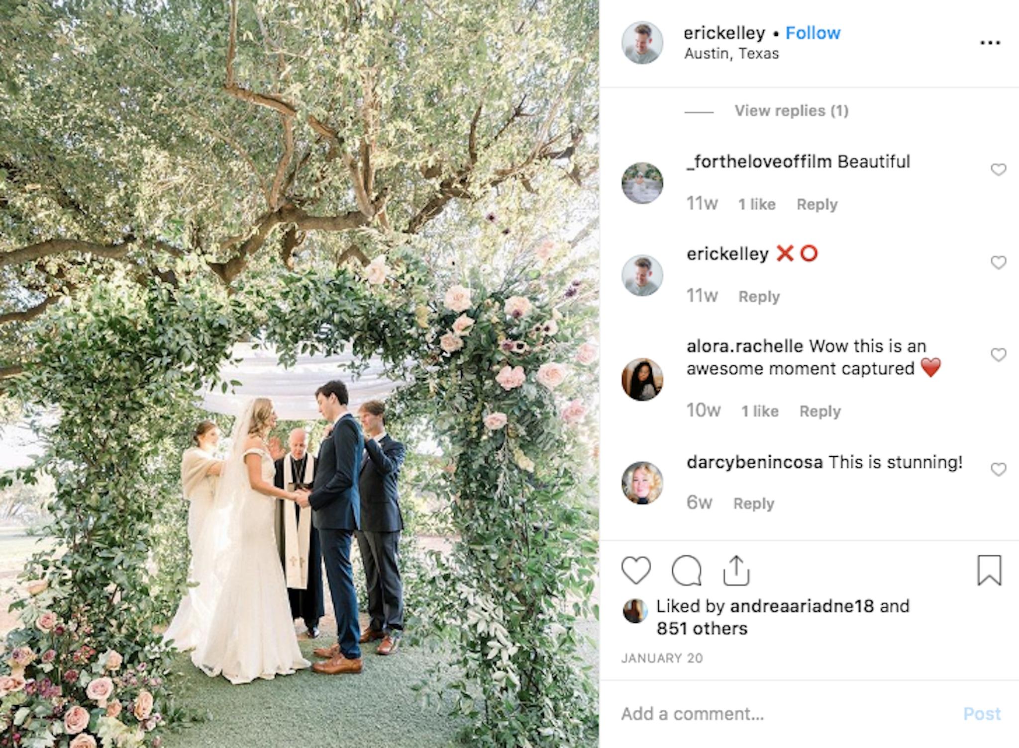 Green chuppah and lush florals wedding nuptials