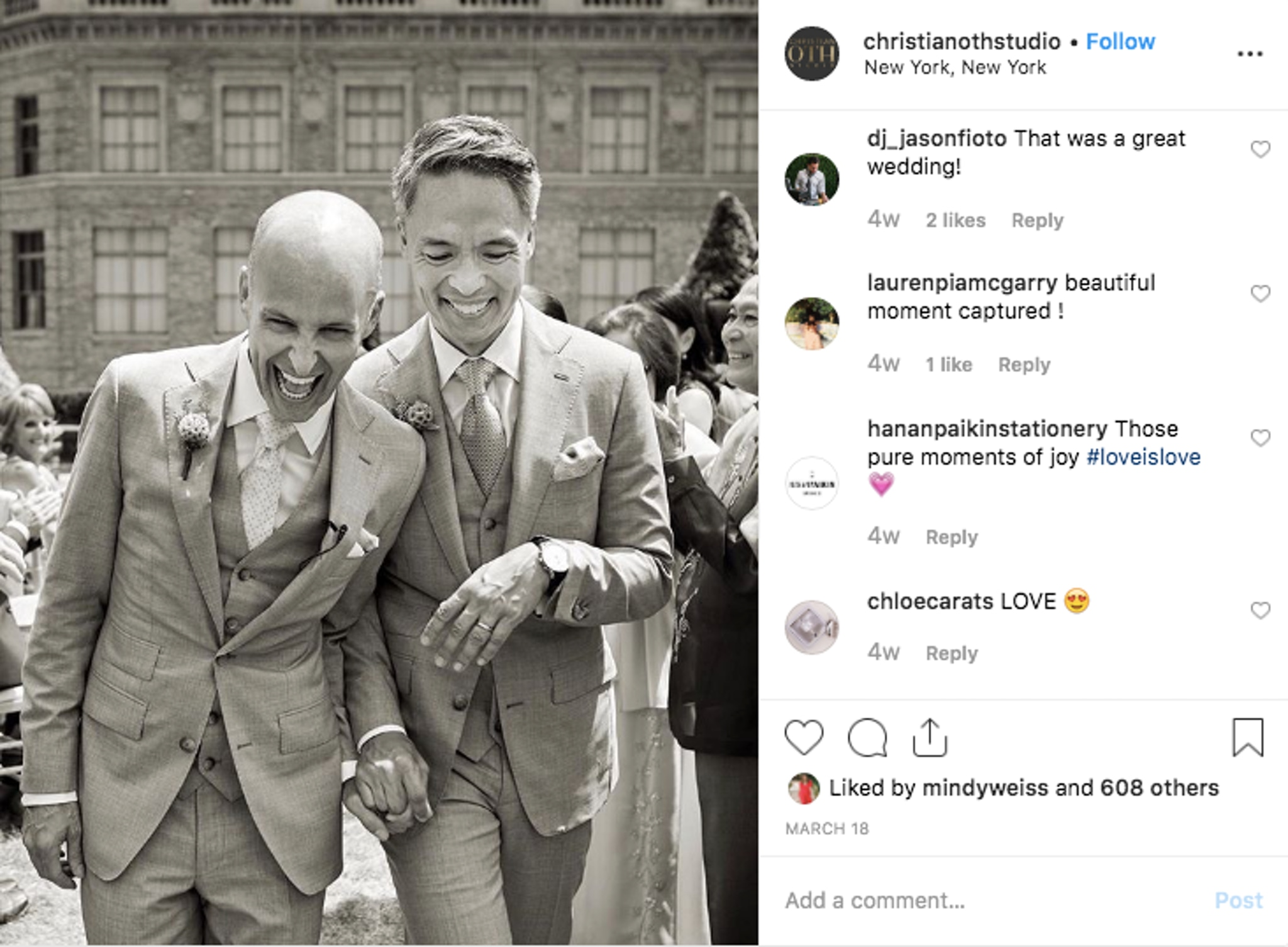 Same sex wedding black and white photo