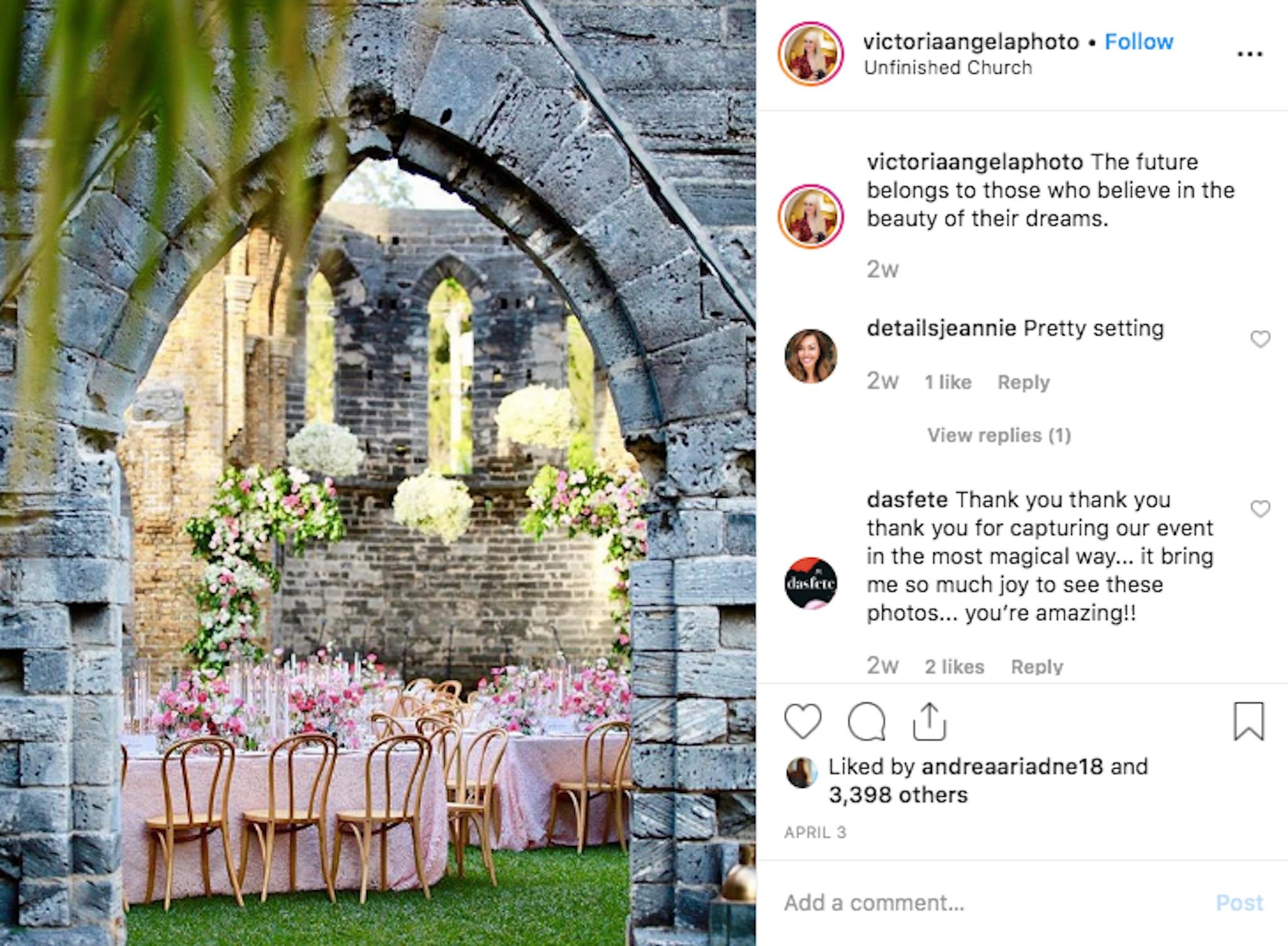 Pink wedding table decor in castle venue