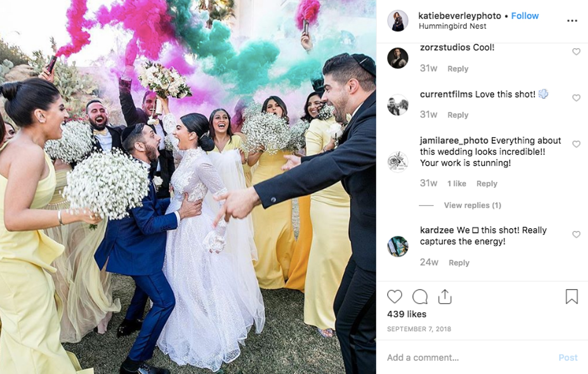 Colorful wedding with guests dancing and beautiful flower bouquets