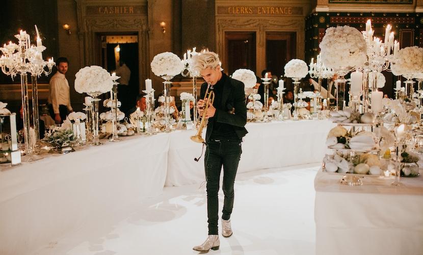 Trumpet player at Vera Wang event