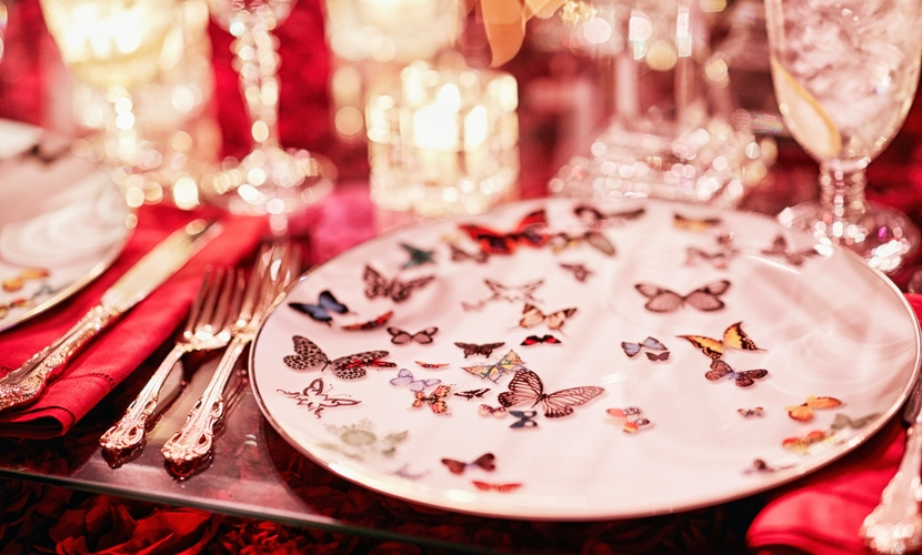 Butterfly wedding plates and red table cloths