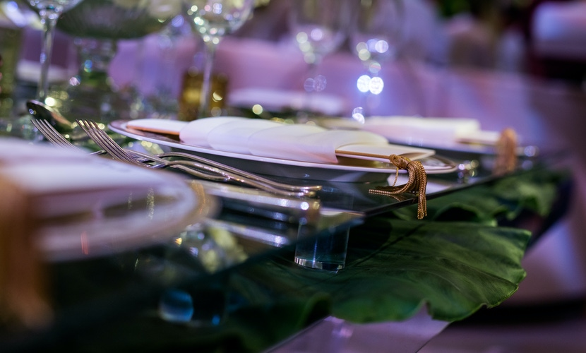 Green, white and gold wedding table setting