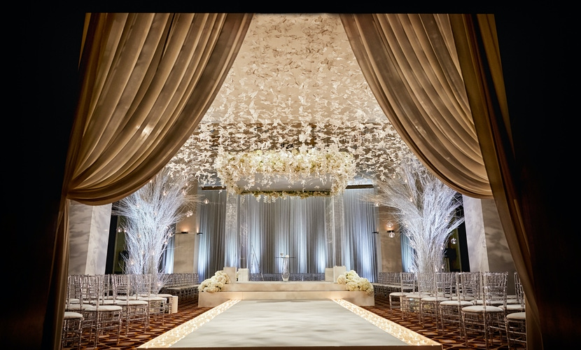 white and gold butterfly wedding decor