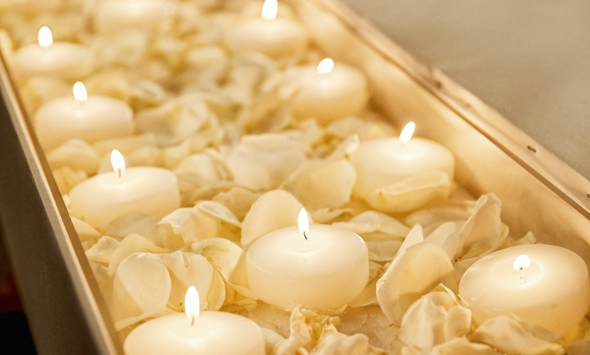 Flower petals and candles decor