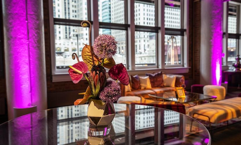 Floral centerpiece arrangement at River Roast Social House