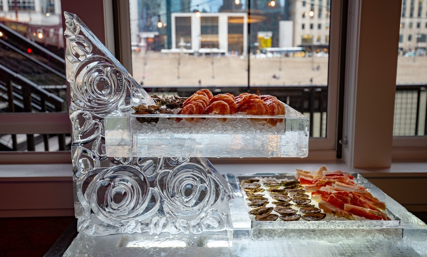 Ice sculpture holding appetizers