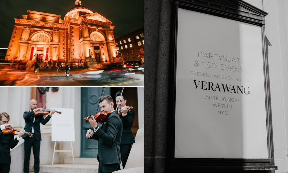 Violin players, lit building and vera wang sign