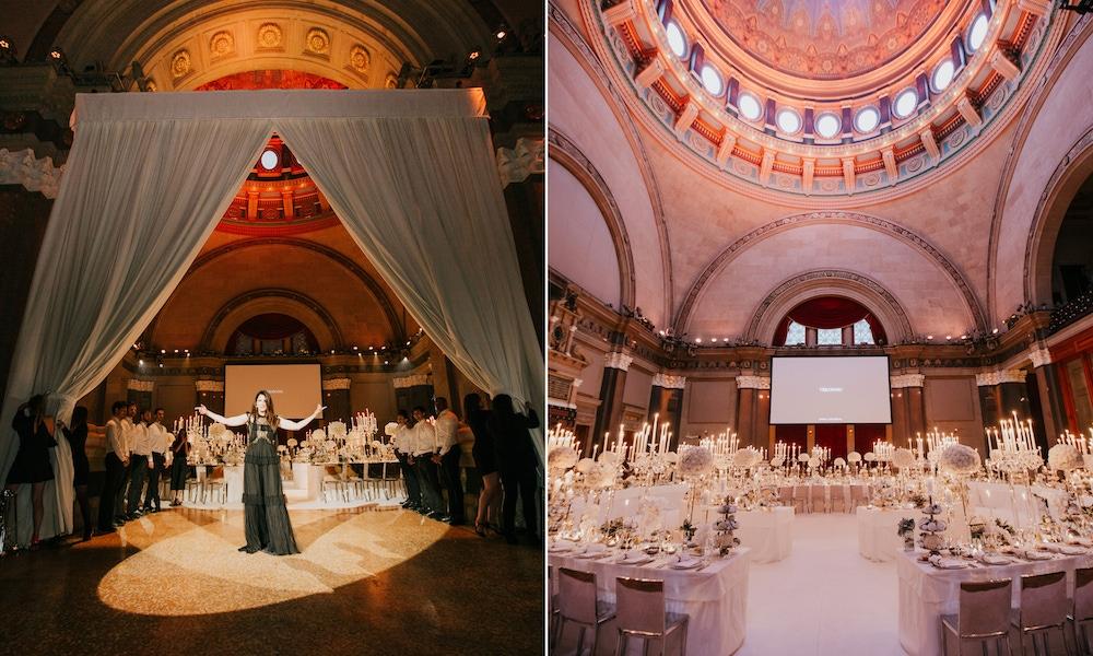 Elegant venue filled with white decor at Weylin in Brooklyn