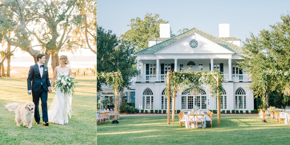 Greenery adorned al fresco chandeliers and bride and groom