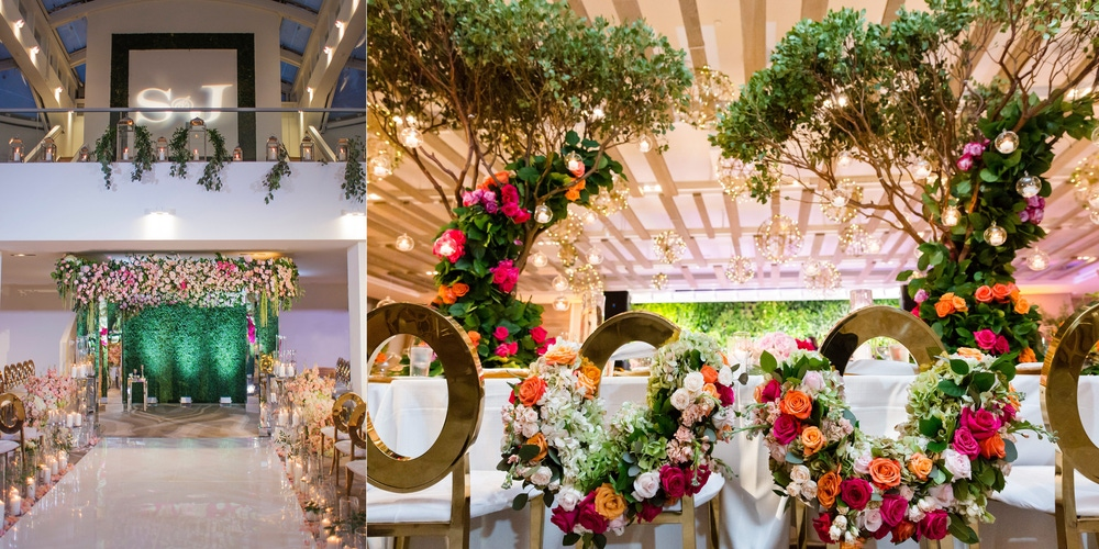 Garden wedding with multi color flowers at 1 Hotel South Beach