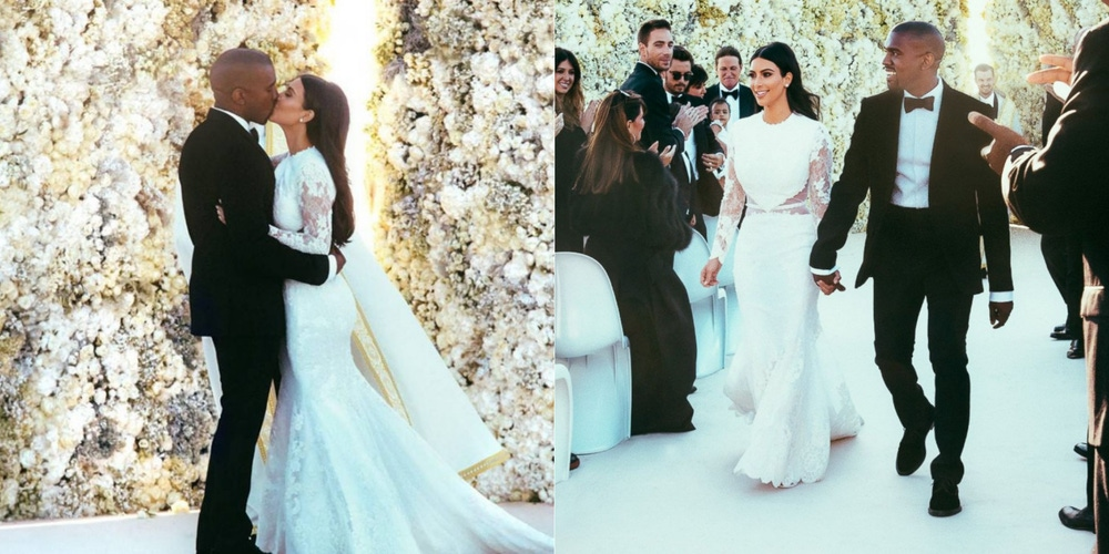 white florals and dress at Kardashian wedding