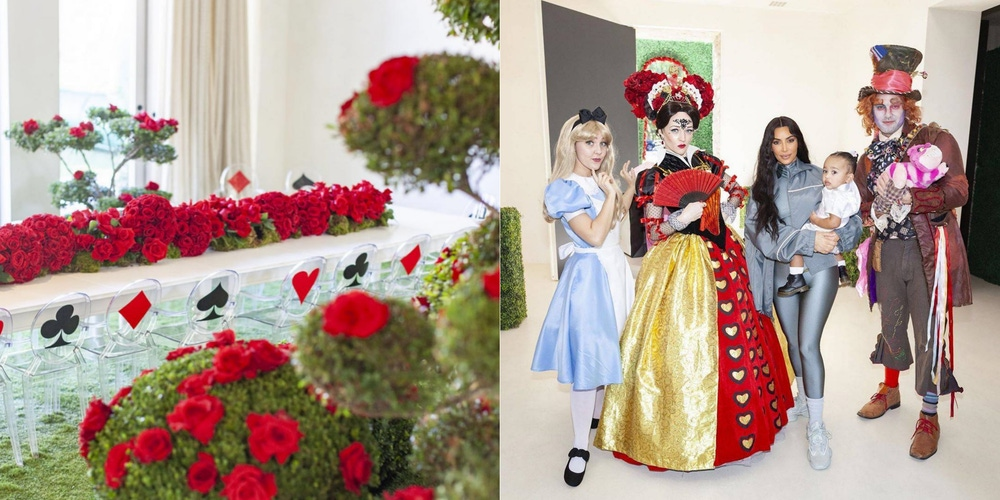Alice in Wonderland party with red flowers and Disney characters