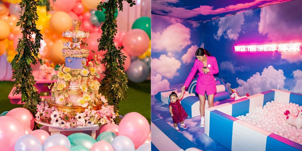 Stormi party multilayered colorful cake, ball pit, and games