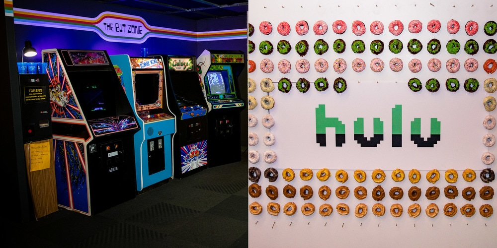 Hulu party with donuts and retro themed games