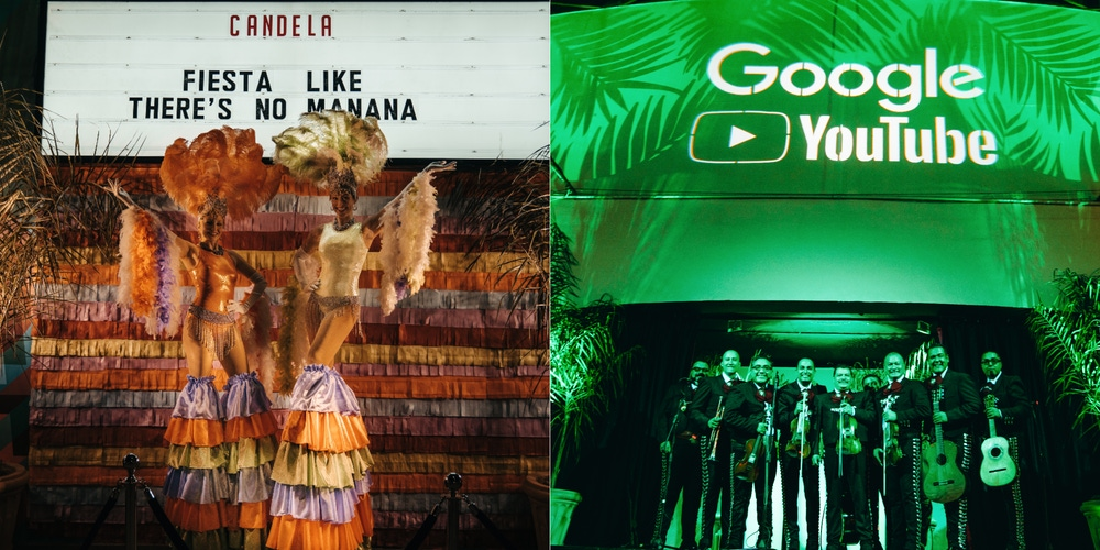 Fiesta holiday party with mariachi band and green lighting
