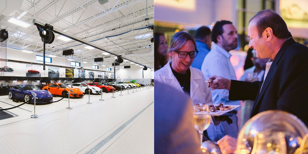 Porsche party with cocktails and appetizers