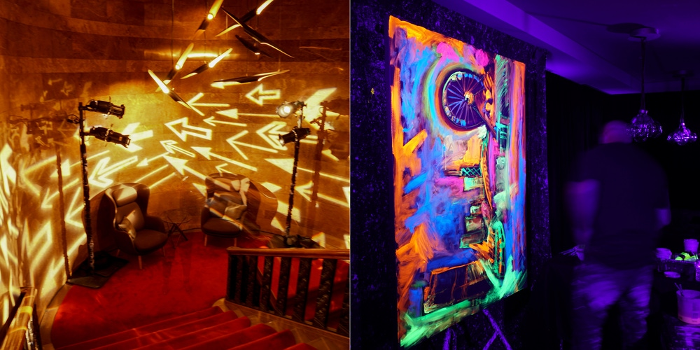 Illuminated space with glow and the dark performances