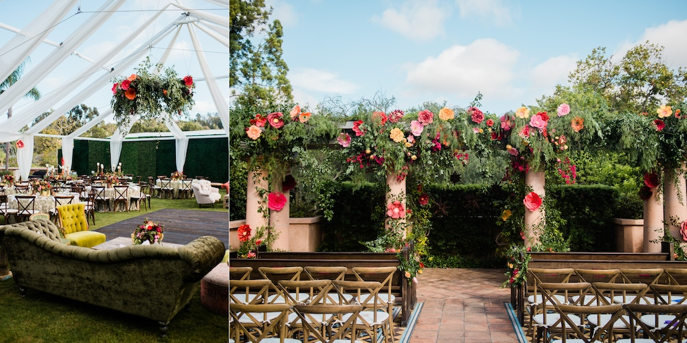 Oversized floral installations with a colorful landscape at Rancho Valencia
