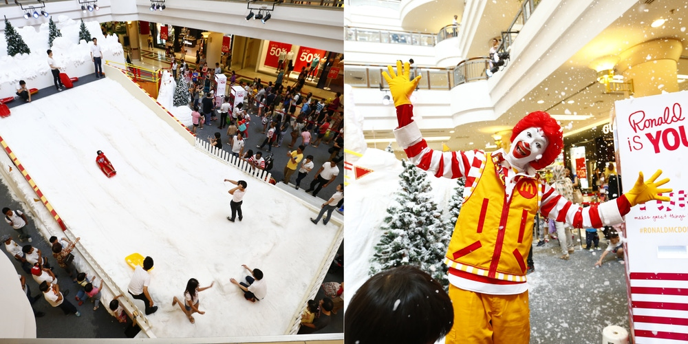 McDonald's party with snow and Ronald McDonald