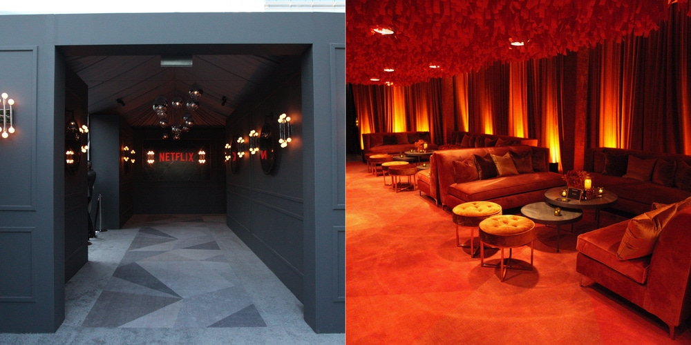 red and modern drapes, furniture, and carpeting at Emmys event