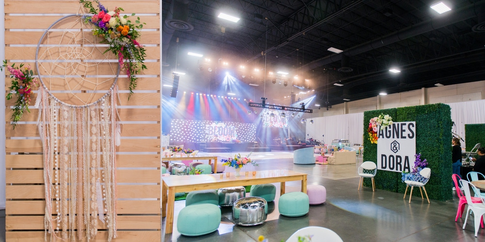 Colorful decor with a rainbow lit dance floor at South Towne Expo Center