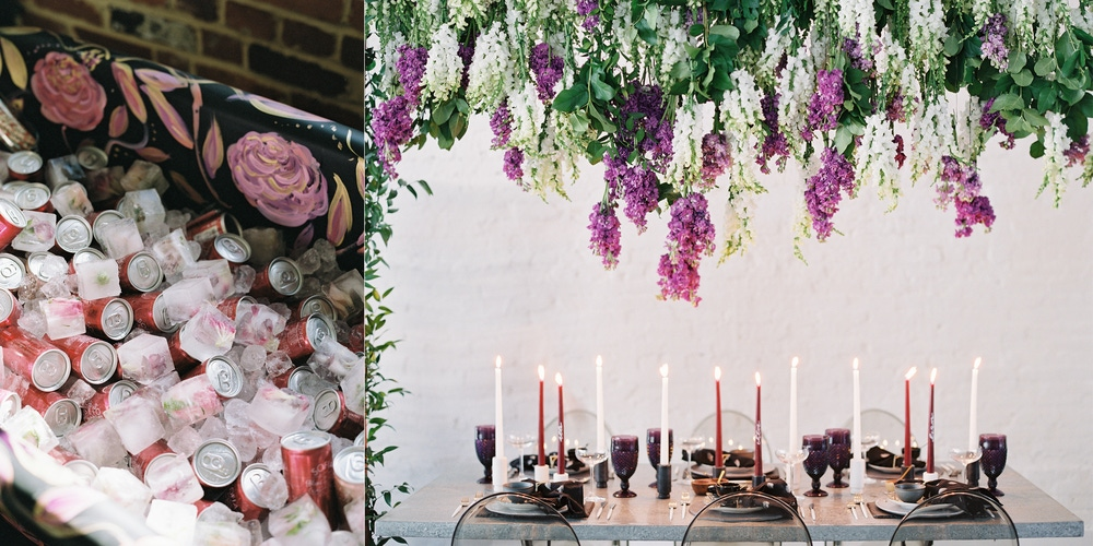 Colorful candle lit table with hanging flowers at Fathom Gallery