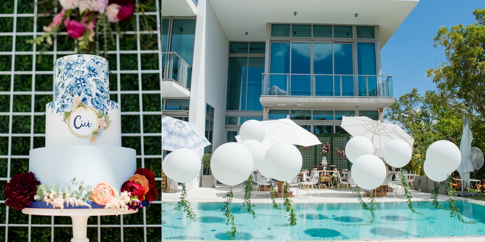 Balloons in a pool and a white and blue wedding cake