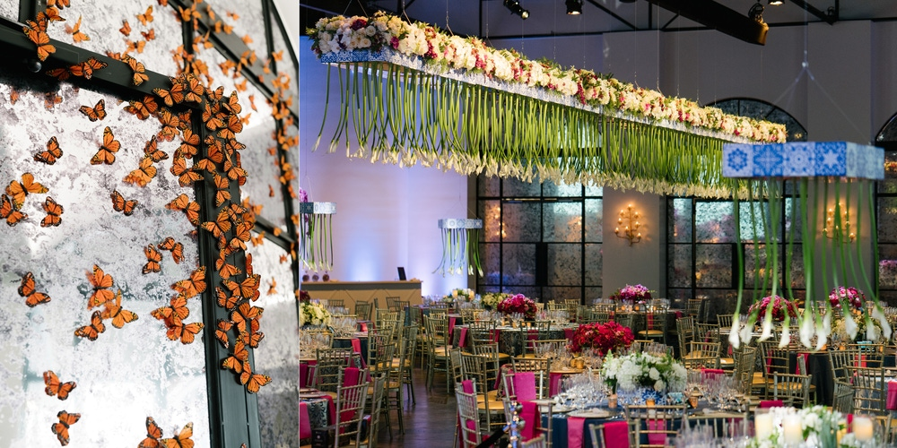 Butterfly wall and pink decorations at The Revaire