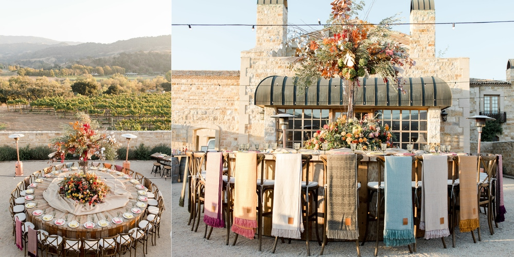 Desert venue with colorful blankets and floral center pieces at Sunstone Vineyard and Winery; Santa Ynez Inn; The Lands By