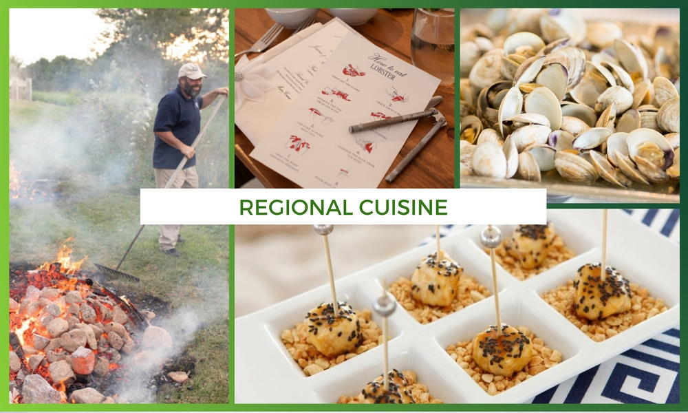 Regional cuisine dishes at wedding