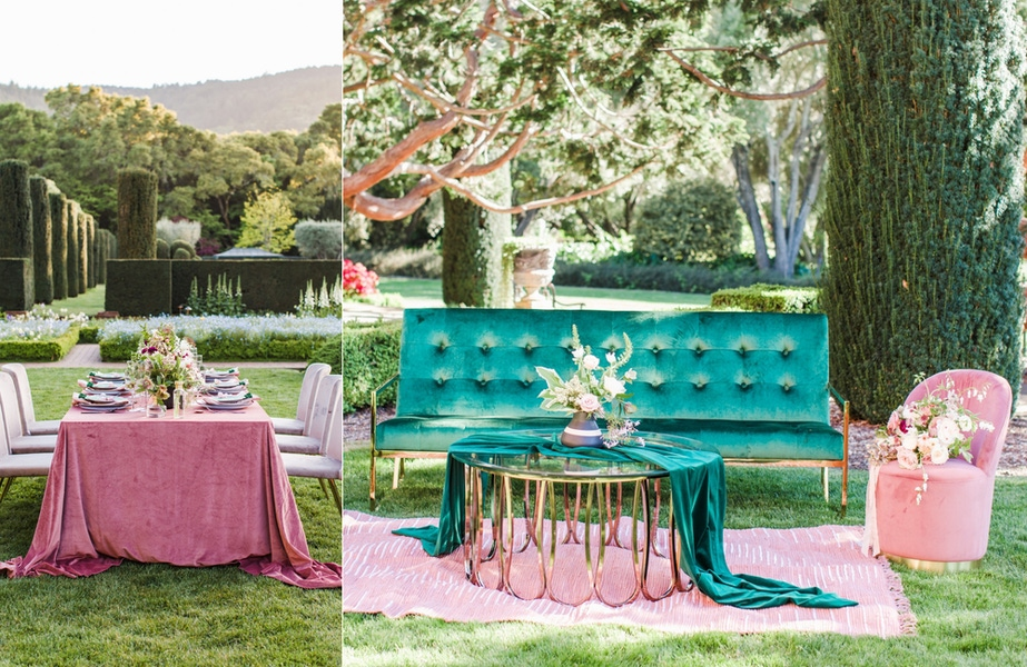 green benches and pink table