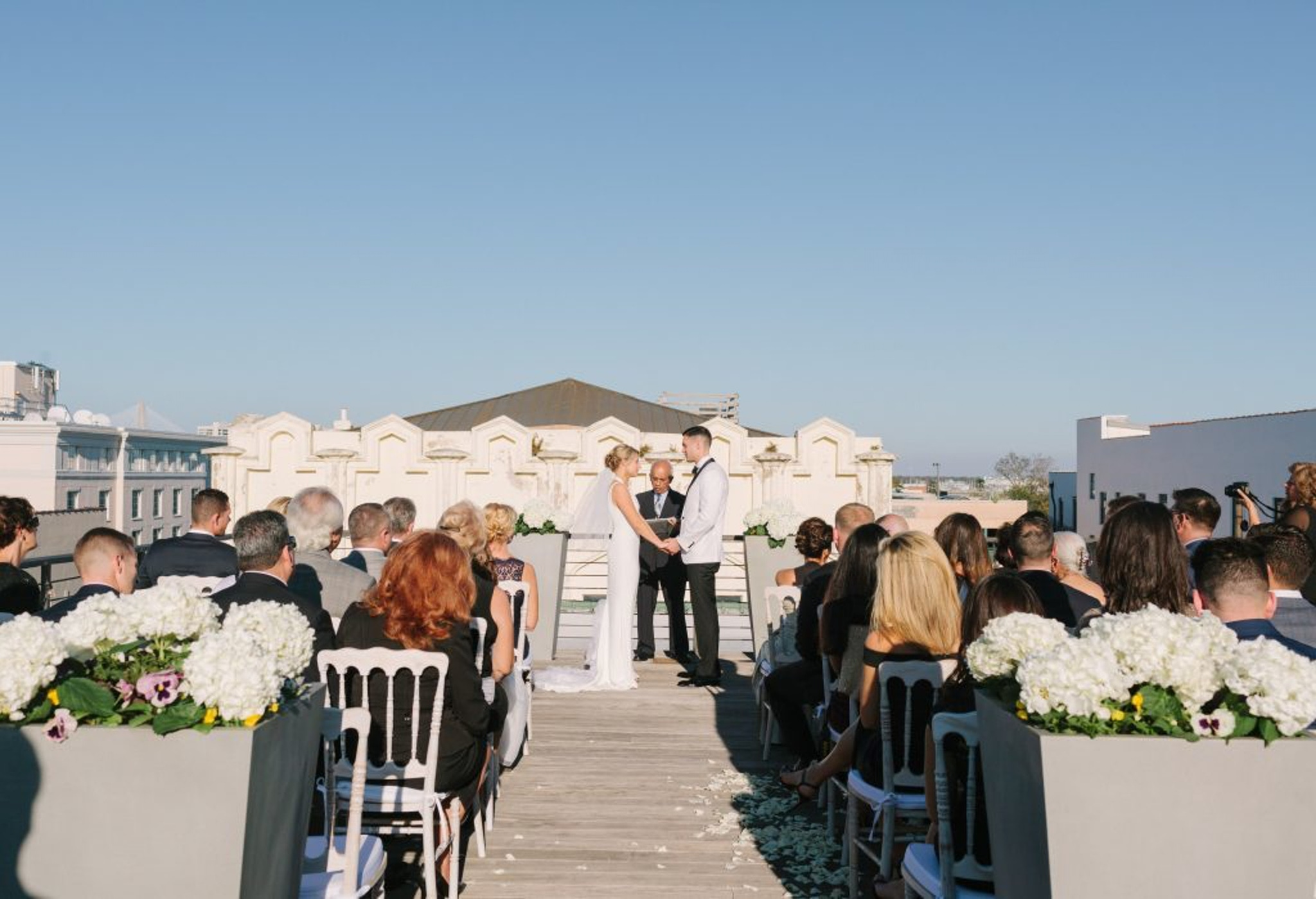 Wedding at The Restoration Hotel with vibrant sky