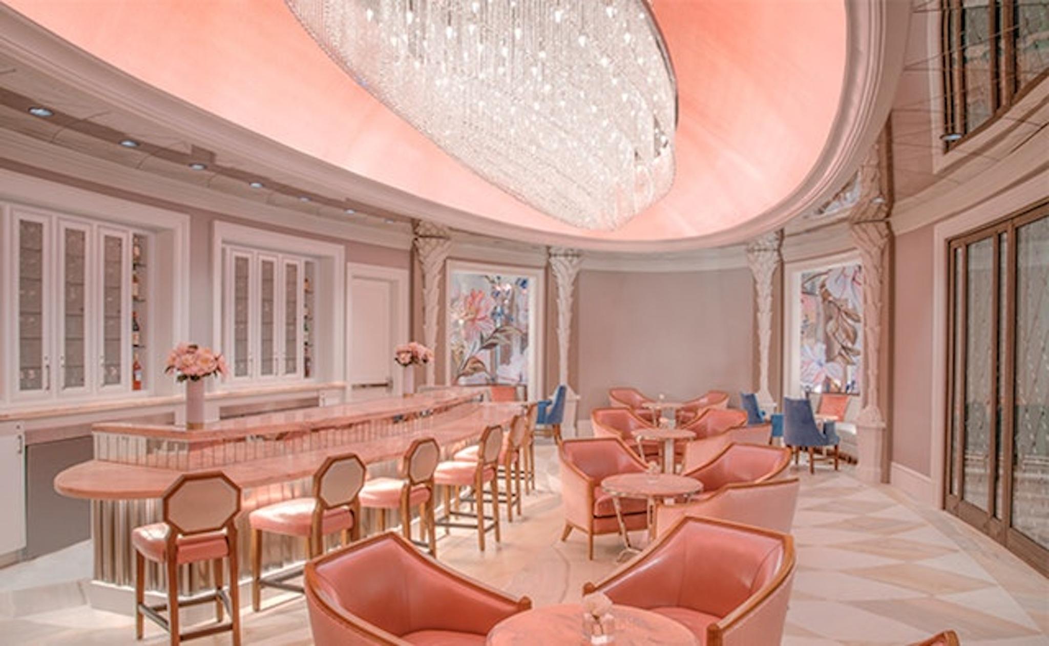 Light pink lit room at the Hotel Bennett in Charleston
