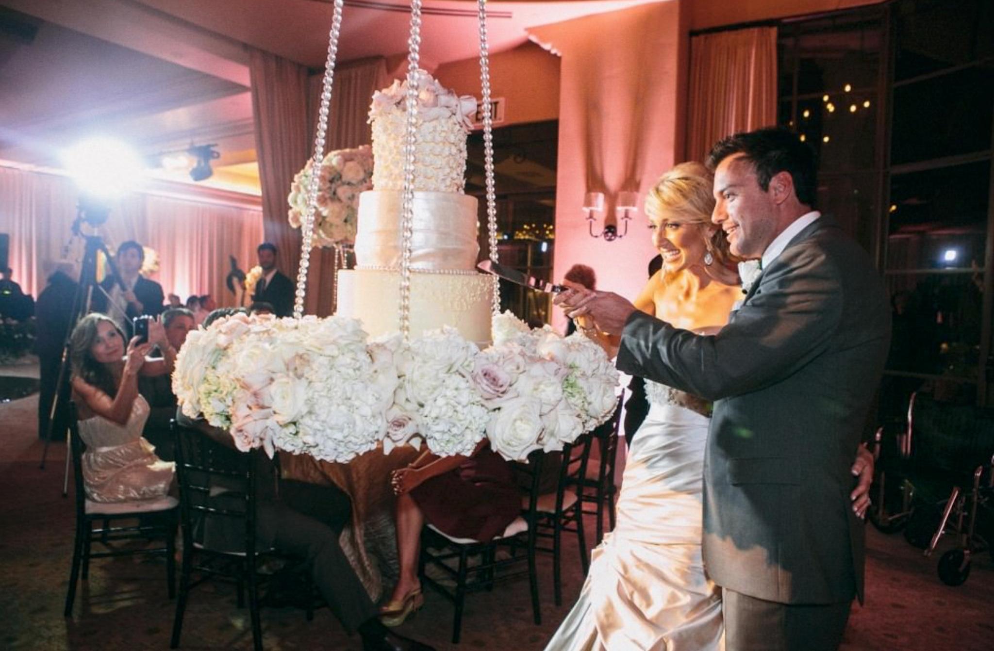 wedding cake floral swing