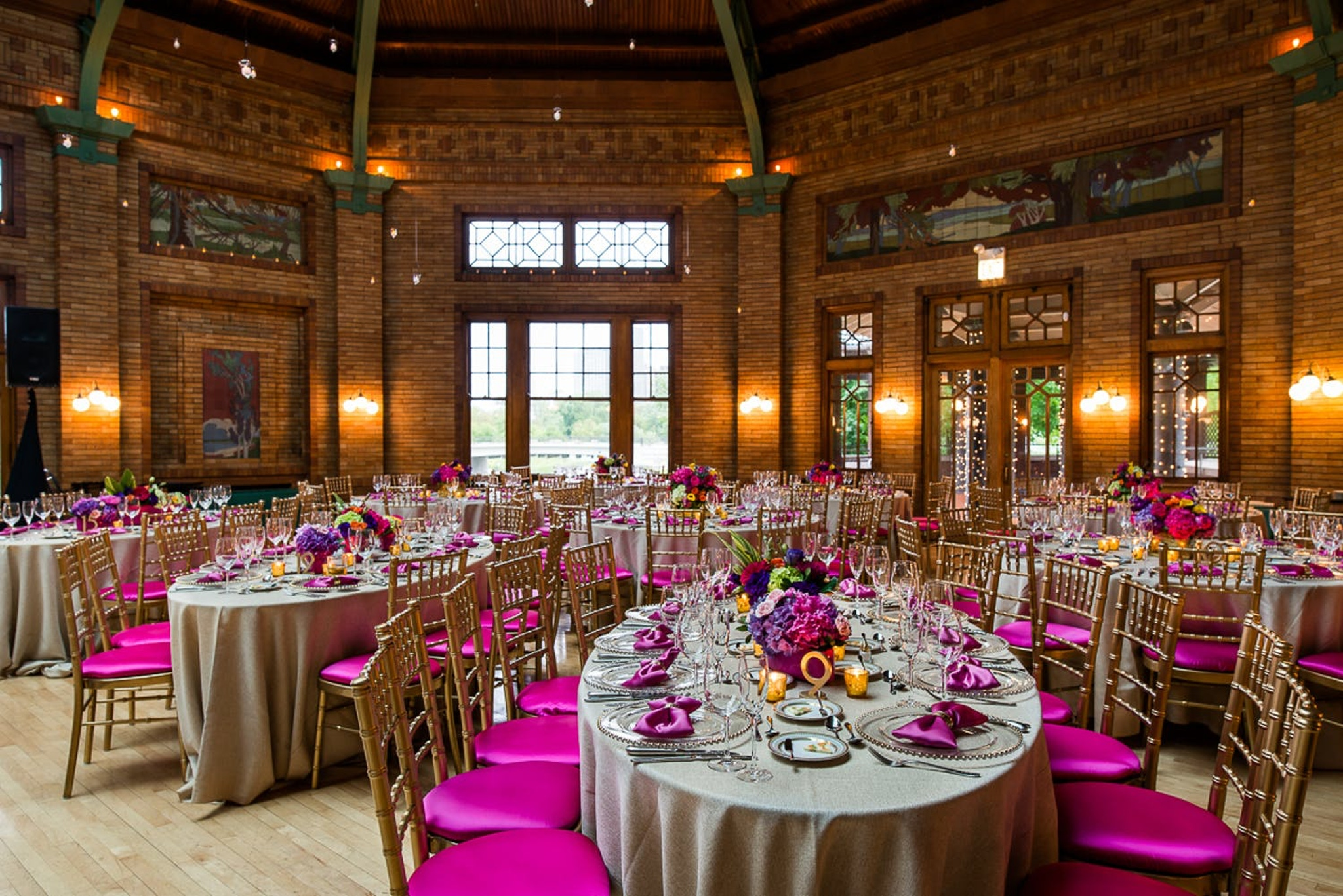 Wedding with pink chair covers and napkins