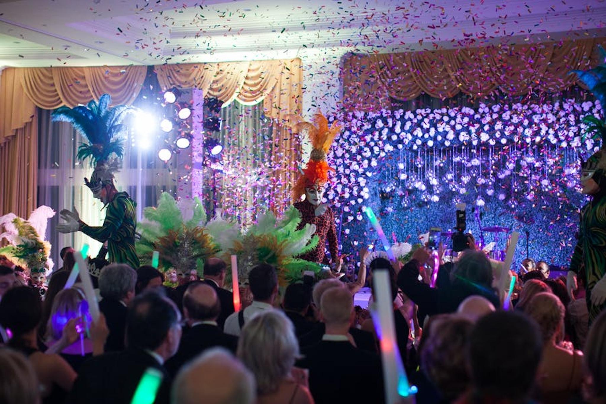 Guest on neon lighting dance floor