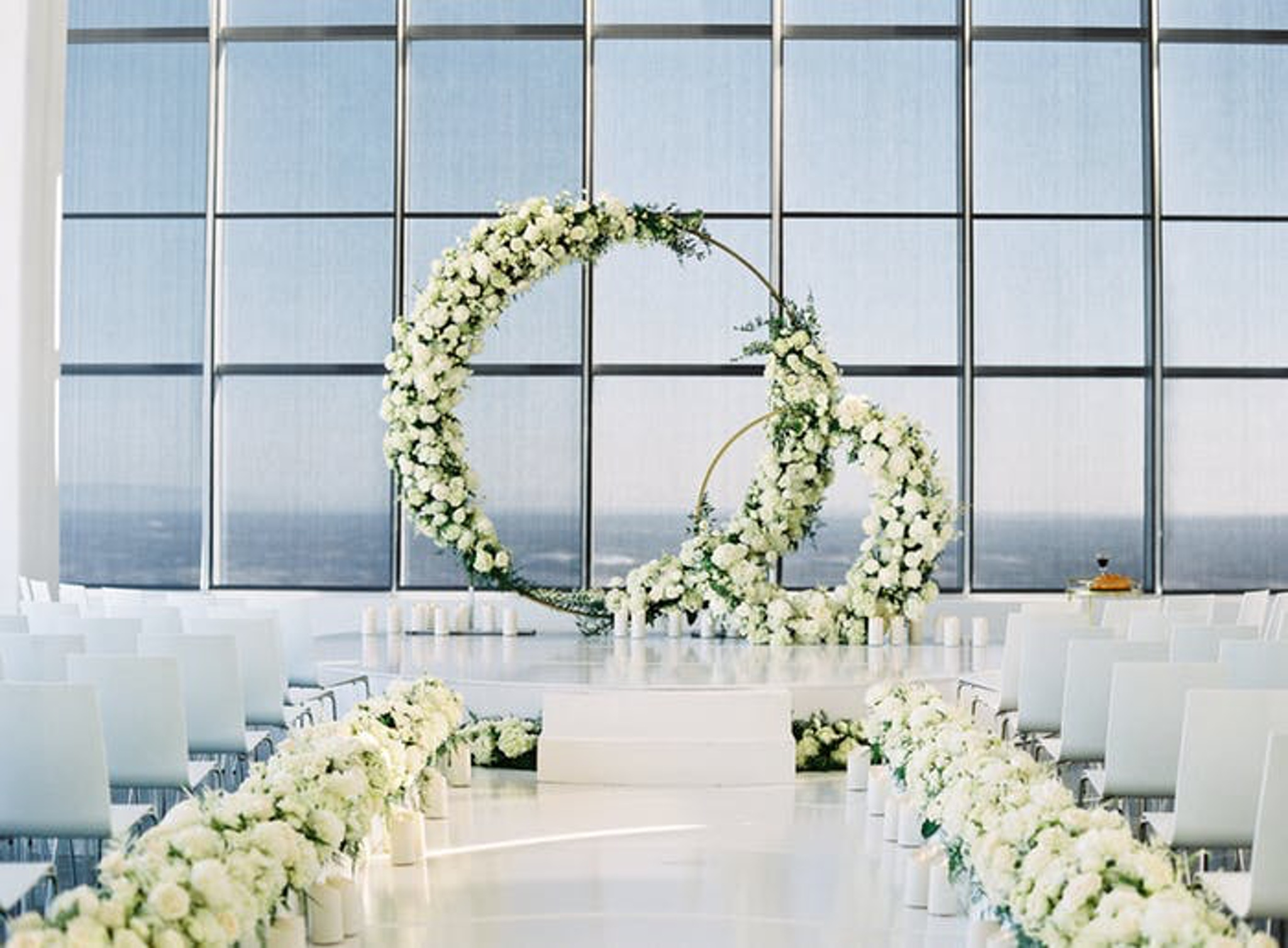 White floral wedding circular arch
