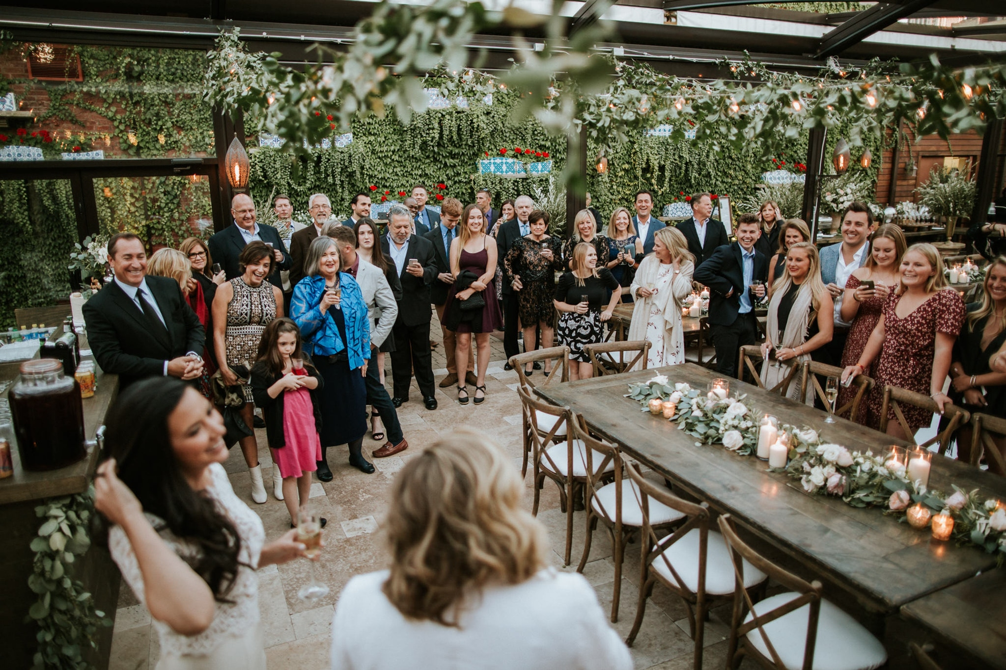 Rustic venue with greenery wedding