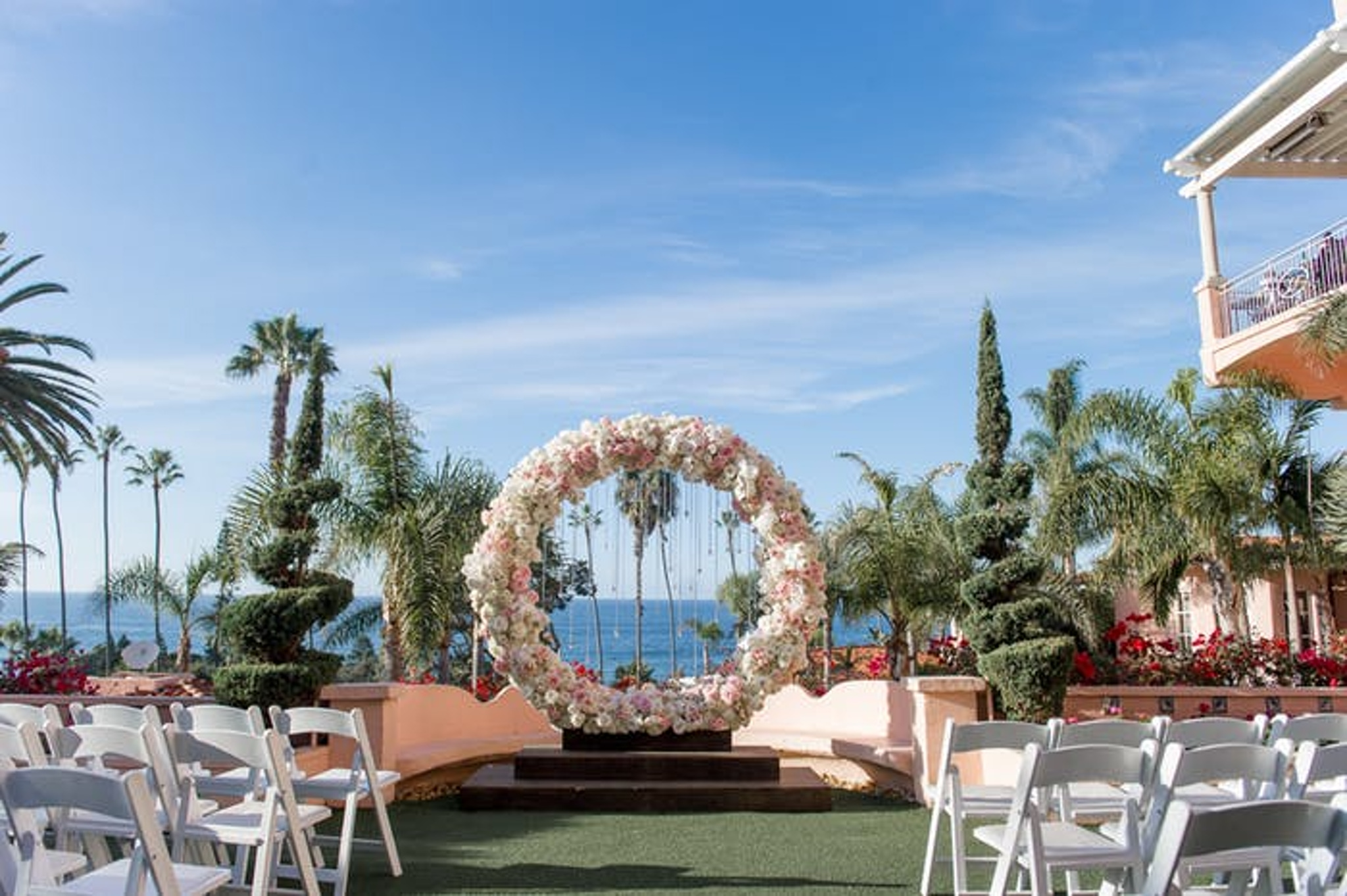 Big floral circular wedding arch
